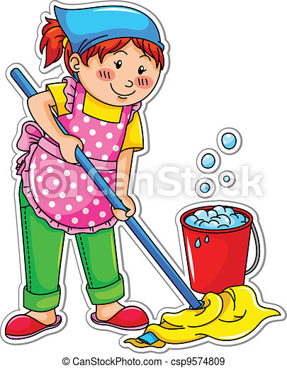 La chica de la limpieza - csp9574809
