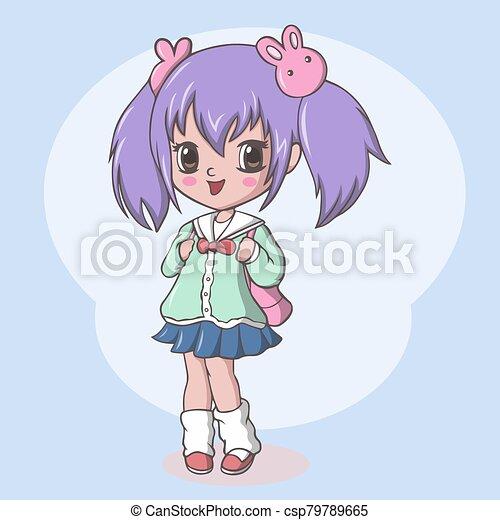 niña, lindo, bolsa, escuela primaria - csp79789665