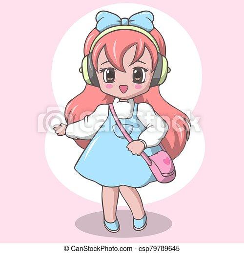 niña, lindo, bolsa, escuela primaria - csp79789645