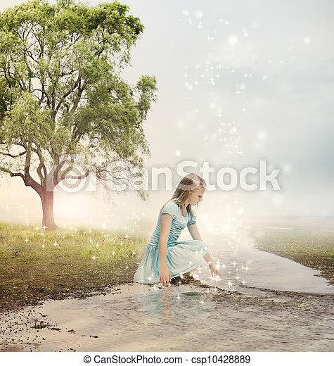 Una chica en un arroyo mágico - csp10428889