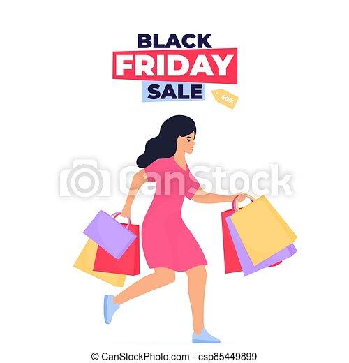 niña, manos, ella, viernes, negro, sale., compras, compras, corre - csp85449899