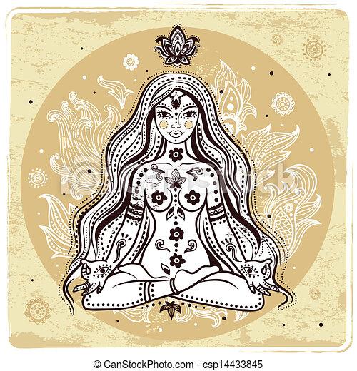 niña, meditación - csp14433845