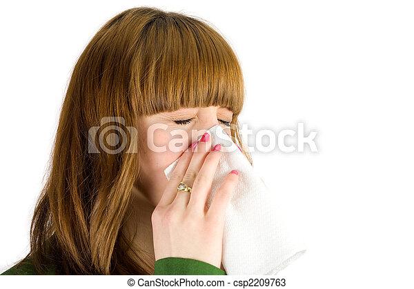 Chica sonando nariz - csp2209763