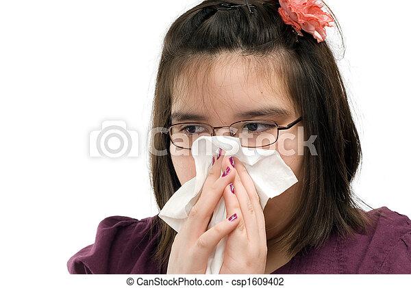 Chica sonando nariz - csp1609402