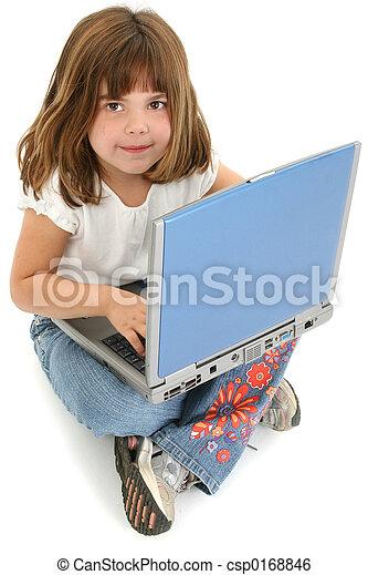 Una chica portátil - csp0168846