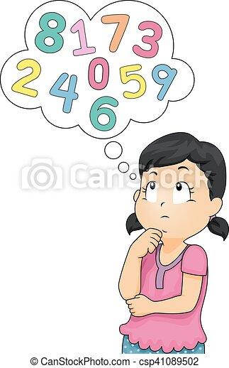 Niña, niño, números, pensar Pensamiento, niña, poco