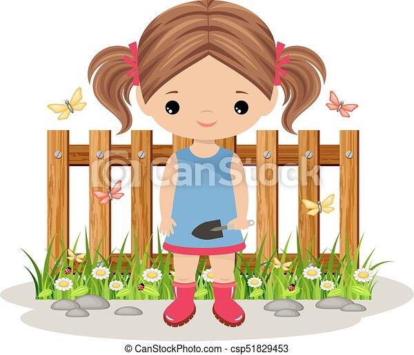 Una jardinera con una pala - csp51829453