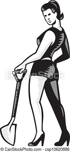 Una chica con pala retro - csp10620886