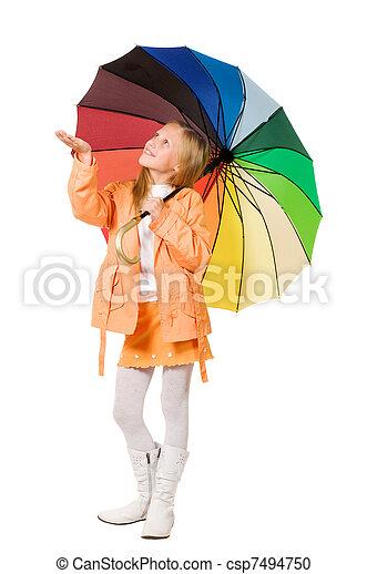 Chica con paraguas - csp7494750