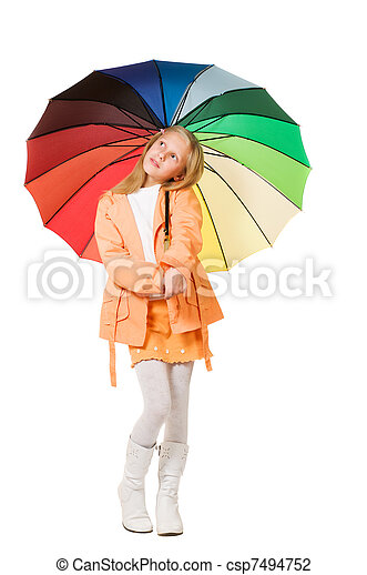 Chica con paraguas - csp7494752