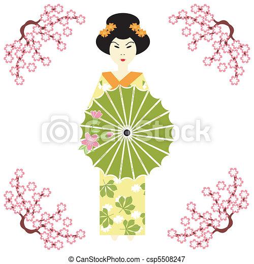 Una japonesa con paraguas - csp5508247