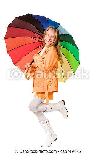 Chica con paraguas - csp7494751
