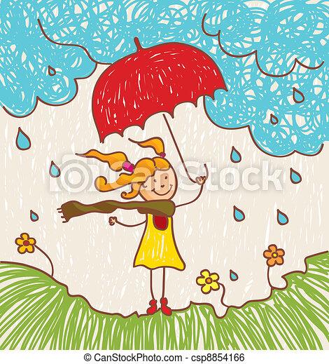 Chica con paraguas rojo - csp8854166