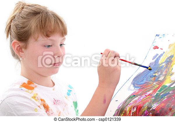 Pintura de niña - csp0121339