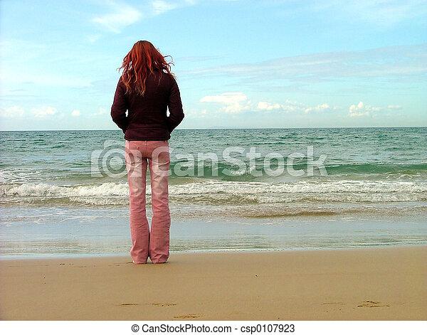 niña, playa - csp0107923