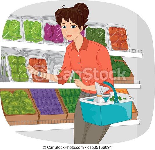 Una sección de productos de supermercado - csp35156094