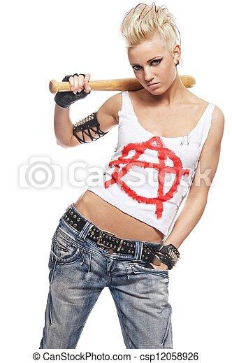 niña, punk, murciélago - csp12058926