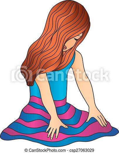 Chica sentada - csp27063029