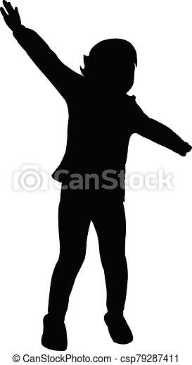 niña, silueta, cuerpo, vector - csp79287411