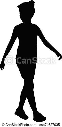 niña, silueta, cuerpo, vector - csp74627035