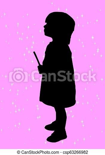 La silueta de una chica - csp63266982