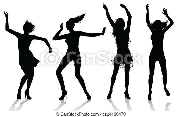 niña, siluetas, bailando - csp4130470