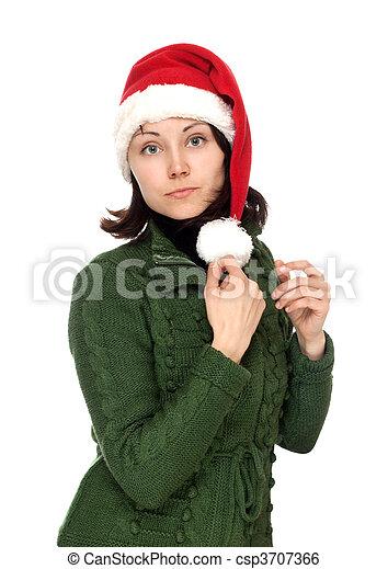 Chica con sombrero rojo de Navidad - csp3707366