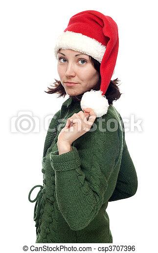 Chica con sombrero rojo de Navidad - csp3707396