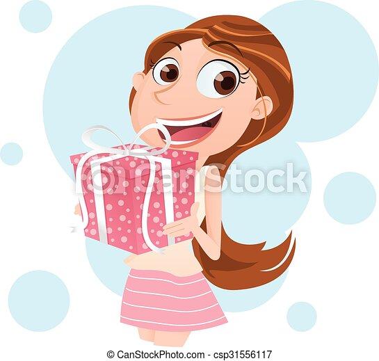 Chica sonriente con presente - csp31556117