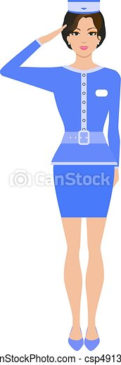 Una azafata de dibujos animados con uniforme - csp49139255
