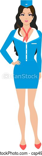Una azafata de dibujos animados con uniforme - csp49139256