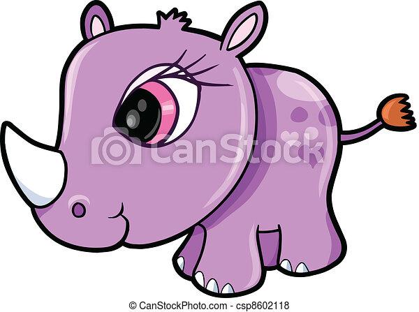 Chica Rhino safari vector animal - csp8602118