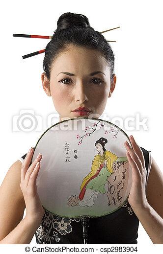 Niña Vestido Japonés Clásico Llevando Mujer Camisa