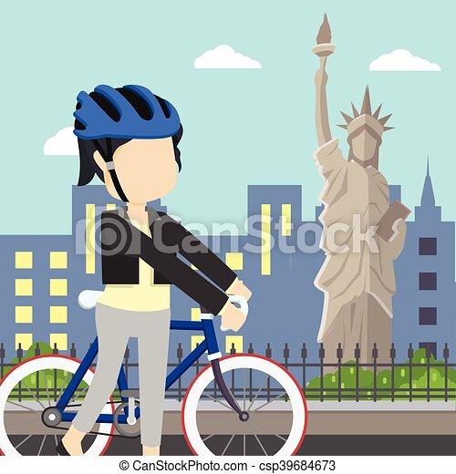 La estatua de la libertad de una gira en bicicleta - csp39684673