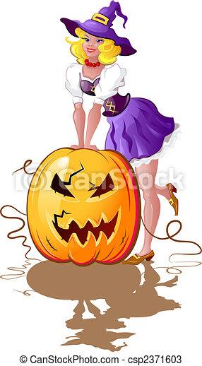 Chica de Halloween con calabaza - csp2371603