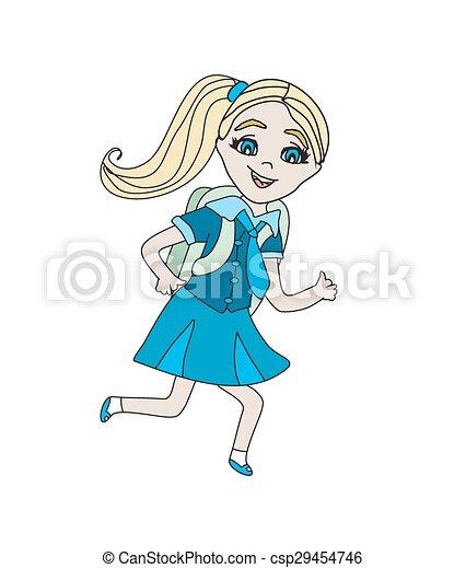 Chica yendo a la escuela - csp29454746