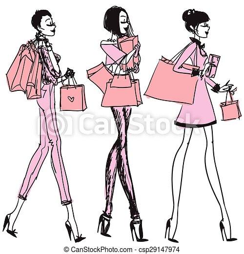 Chicas bonitas con bolsas de compras - csp29147974