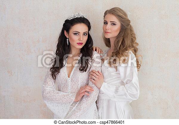 Niñas Dos Retrato De La Boda Vestidos Blancos Niñas Dos