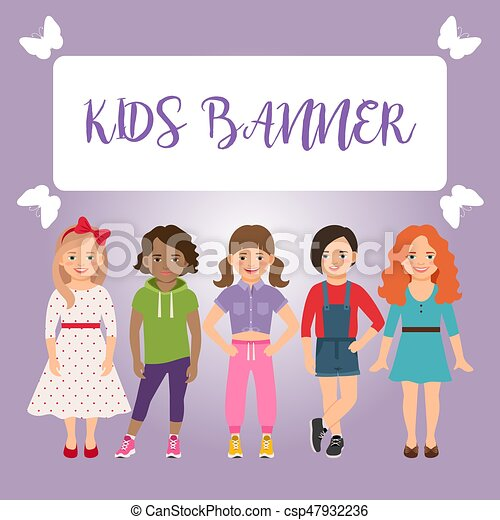 Niños pancartas con chicas - csp47932236