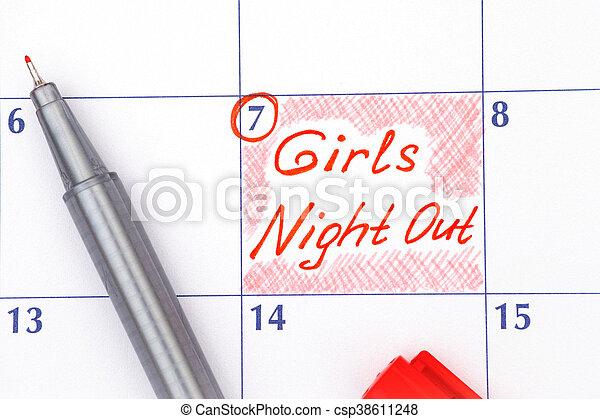 Noche de chicas de recordatorio en calendario con pluma - csp38611248