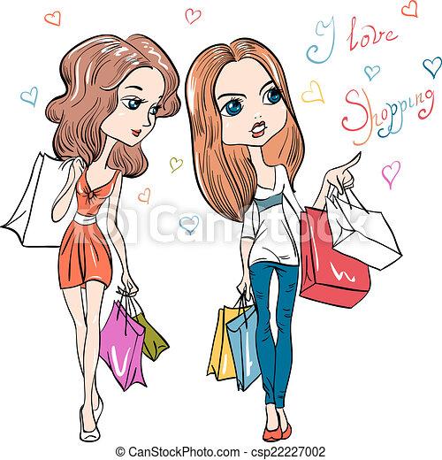 Chicas guapas de moda Vector - csp22227002