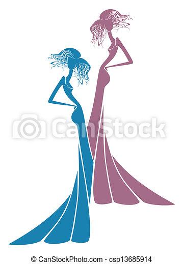 Chicas vestidas de noche - csp13685914