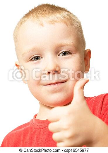 niño, actuación, arriba, pulgares, gesto, feliz - csp16545977