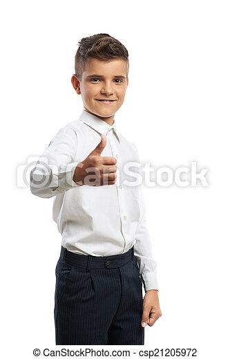 niño, actuación, feliz, arriba, pulgares - csp21205972