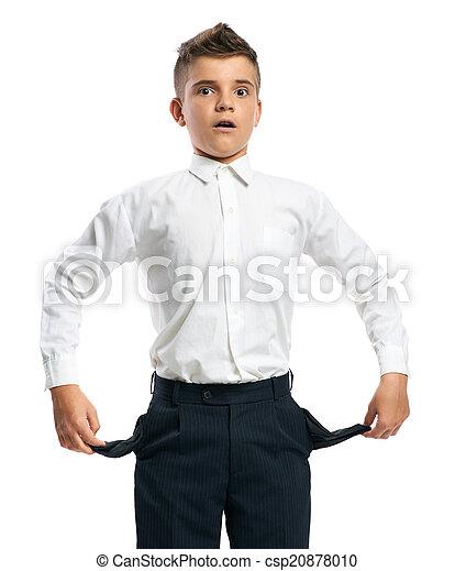 niño, actuación, vacío, confuso, bolsillos - csp20878010