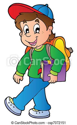 Un chico cartoon caminando a la escuela - csp7072151