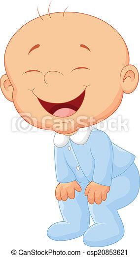 Un bebé de dibujos animados riéndose - csp20853621