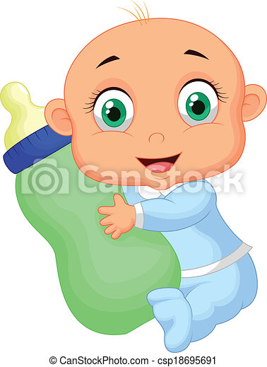 niño, bottl, caricatura, teniendo bebé, leche - csp18695691