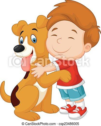 Feliz niño caricatura amorosamente hu - csp23486005