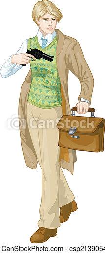 niño, caricatura, carácter, arma de fuego, retro - csp21390541